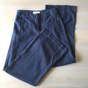 Moon River Navy Linen High Waist Wide Leg Pants XS